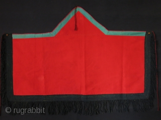 """Turkmen 5 corner broadcloth Asmalyk with Russian printed cotton backing. Circa 1900 -1920s size: 44"""" X 31"""" // 112 cm X 79 cm"""