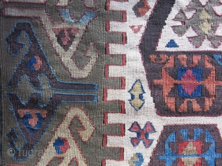 """Central Anatolian half panel long Kilim. Wool and cotton mixture weave background. saturated natural colors.. Good condition circa mid 19th or earlier size, 147"""" X 27"""" - 375 cm X 69 cm  ..."""