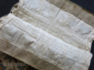 "Greek silk embroidered pouch, pomogranate blossoms, circa 1900 -1920 size"" 10"" X 7.5"""