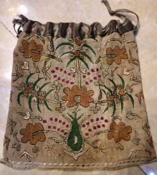 Ottoman two face is  bag, background is cotton and brouderies are silk and metal. Size 25x25 cm