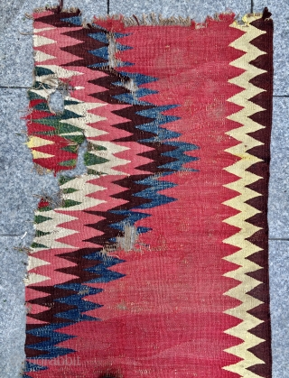 Rare Persian very old fragmand kilim 1820 or 1840s size 240x68cm