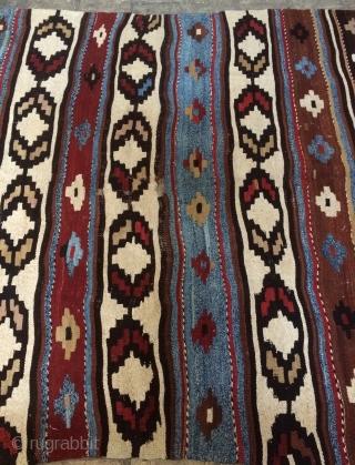 Shahsavan kilim blue and white cotton size 350x170 cm