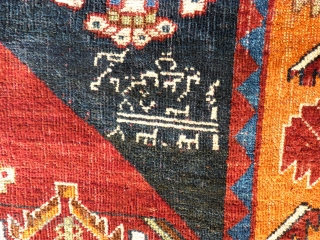Persian Gabbeh. Dated. Size: 137 x 176 cm. Some low pile. Used.