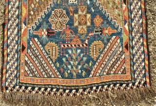 antique Southpersia Gashgai runner. Size: approx. 80 x 370 cm. Thin pile.
