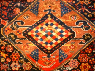 Old fantastic southpersian rug, probaply Khamse?. Size: 155 x 247 cm. Very good condition. Full pile. Great colors and special ornamentic.