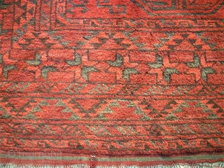 Main Afghan antique rug. Size: 247 x 321 cm. Very good condition. Lightning green.