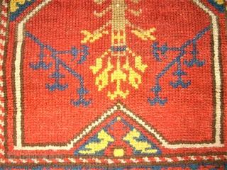 antique anatolian Prayer rug. Size: 100 x 151 cm.