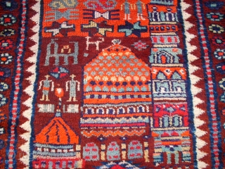 Very old happy kurdish rug. Size: 86 x 210 cm. Interesting rug. Some pile is low.