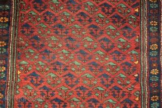 antique Kordi rug. Size: 105 x 231 cm. Some used pile.