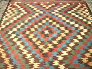 antique Veramin Kilim. Size: 153 x 260 cm. Very good condition. Wonderful Colors.