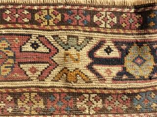 antique anatolian rug. Size: 104 x 143 cm. Used pile.
