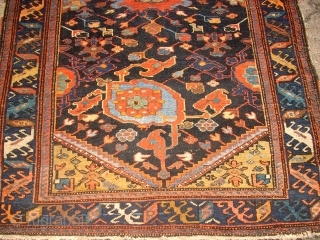 SOLD - THANK YOU! Antik, persian kurdish? rug. very nice colours and interesting ornaments. fine knotting. pile is low.  Size: 180x110cm