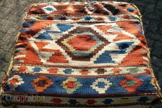 Very old Shasavan Mafrash. Size: 86 x 50 x 52 cm. Nice colors and top condition. Inclusive  hard synthetic Cube inside.