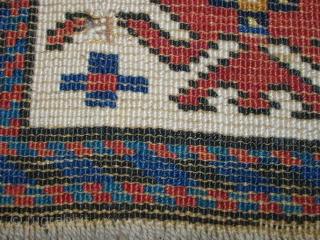 Antique caucasian rug. Size: 253 x 111 cm. Good pile. Very interesting ornaments. Wonderful border.