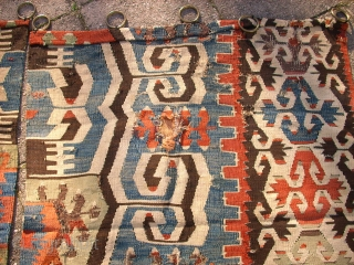 Antique anatolien Kelim! Size: 209 x 155 cm (Both). Used. Holes and repairs.  I think it was used as a curtain.