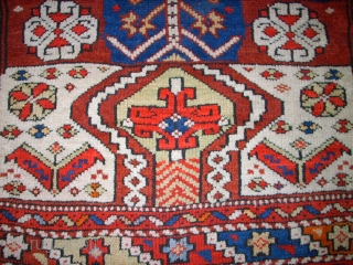 Very old anatol Bergama rug. Size: 105 x 93 cm. Nice and authentic item. Good colors. Interesting ornaments.