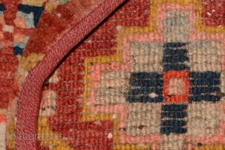 Magnificent Tibetan takheb carpet intended for use as a horse or yak cover / blanket, with a stunning, visually attractive, elaborate lattice-like design as the main field. The top horizontal panel is  ...