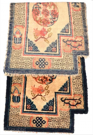 Beautiful 19th century Inner Mongolian (i.e. the Baotou - Suiyuan region of China) 'wasp-wasted' under saddle carpet with all natural dyes and in original condition. ('Wasp-wasted is a term used to denote  ...