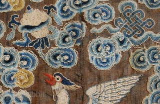 Chinese Civil Rank Buzi (pu zi) or 'insignia badge' (also often referred to as 'Mandarin Squares'), hand woven in silk - the design-features using the tiny 'Peking Knot' - from the late  ...