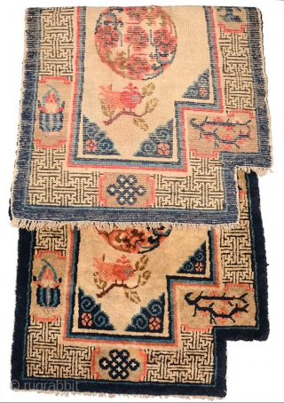 Beautiful late 19th century inner Mongolian (i.e. the Baotou - Suiyuan region) 'wasp-wasted' under-saddle carpet with all natural dyes in original 'as found' condition. ('Wasp-wasted' is a term used to denote a  ...