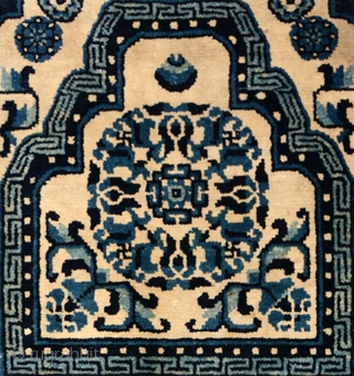 Attractive intact 'throne' back and seat from the Baotou- Suiyuan area - i.e. Inner Mongolia - but in this case, given the colours, in all likelihood woven for an official (as opposed  ...