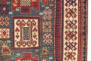 Antique kazak rug with remarkable design in excellent condition. Karachopf long rug elements along with a pair of large elegantly dressed people. Allover good even pile with good edges and ends. All  ...