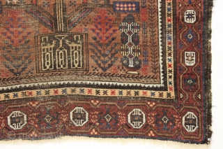 Antique baluch prayer rug. Interesting older example of an unusual design group. Wide range of all natural colors with very nice greens and blues. Areas of wear and with a small patch  ...