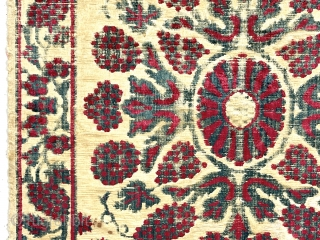 """23"""" x 44"""" yastik Early large silk yastik. Lovely classic floral design. Complete with overall fair condition for the age and type. Scattered abrasions and loose ground silk. All natural colors. Uncommon and  ..."""