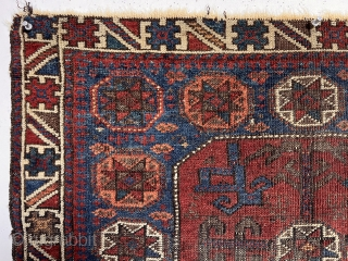 Antique unusually colorful Baluch bagface with an interesting variation of the classic octagon design. Very colorful uncommon border. All natural colors featuring a deep apricot orange and lots of pretty medium blues.  ...
