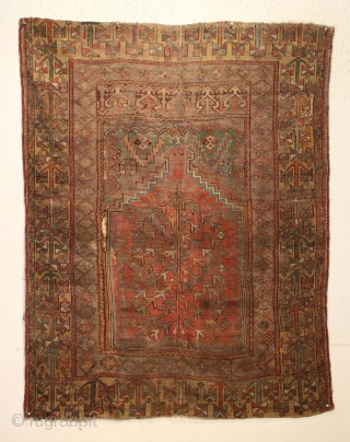 Antique Turkish prayer rug. Unusual and interesting border. Very dirty but appears to have terrific colors under all that grime. Beautiful grape purples, rich greens and clear yellow/golds.. Abused and damaged comdition.  ...