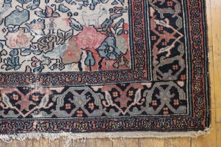 Rare Persian circus rug. Not one but two elephants. Add a few clowns and you have a circus. A deep wear crease (see pic), some rough ends. Early 20th c. Probably northwest  ...