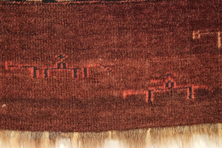Antique chuval with skirt showing horses and human figures, some riding on horseback. Mostly good thick high pile with just a few small spots of wear. All good natural colors with a  ...