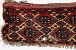 Antique turkoman trapping or jollar. Good age. Nice design, lustrous wool, persian knotted.  Good amount of thick high pile. Excellent small hole and edge loss as shown. All natural colors. Reasonably  ...