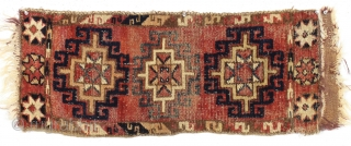 Antique uzbek or some such little pile weaving. Nice bold design. All natural colors. All wool. Not missing borders, original selvages a bit rough. Flat weave sewn on, barely attached. Decent age,  ...