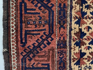 """Antique camel ground Baluch prayer rug in rather good condition. Text book design other than unusually tiny hand panels and the """"tree of life"""" trunk made up from tiny turkman motifs. Overall  ..."""