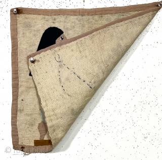 """Charming little older textile, locally found, possibly acquired during overseas travel. Egypt? As found, little rough as shown. Early 20th c. 16"""" x 17"""""""