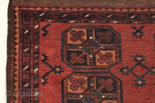 "Antique little ersari rug. ""As found"", even low pile with a small spot of wear, brown oxidation or old moth (fingernail size hole). All good colors. Could use a wash. Looks like  ..."