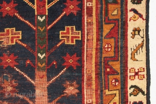 Antique Turkish Makri rug. Old piece in very rough condition. Holes, wear, oxidation, patches, flat stitching, you name it we have it. Also has terrific vibrant natural colors. Needs a good home.  ...