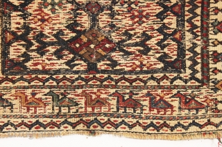 "Old little bag fragment with rows of animals, likely bakhtiari. All natural colors. Charming little weaving. 19th c. 13"" x 21"""