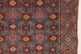 antique kurdish or kordi rug with an unusual and attractive design. Overall fair condition as found with a little scattered wear and a small hole as shown, easily repaired. Good old natural  ...