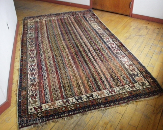 "Antique South Persian rug. Large size. Low pile. All natural colors. No repairs. ""as found"". Could use a wash. Late 19th c. rug. 5' 3"" x 9' 5"""