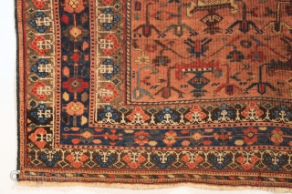 """Antique Afshar rug. Terrific design. All wool. All good natural colors. Some good pile. Some very low pile. No repairs. Good age. Ca. 1880 rug. 3' 9"""" x 5' 2"""""""