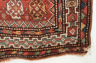 Antique large Kurdish rug. Thick meaty high pile. All good natural colors with beautiful greens. Bold design. No repairs. One corner some old pest damage as shown, easy repair. Reasonably clean. Late  ...