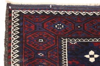 Antique baluch rug. High quality older karai example with sparkly wool and pretty good condition. All natural colors with nice blues and good reds.  Mostly good medium length pile with nice  ...