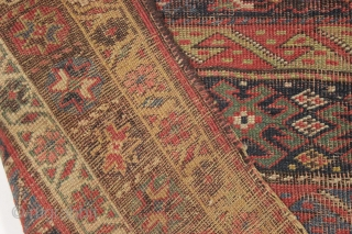 """Borders gone wild. Antique kurd bidjar rug with an unusual design. In """"as found"""" condition, VERY dirty and with wear as shown. Looks like good color under the grime. Never seen this  ..."""