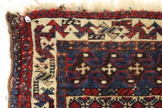 """Antique top quality little Persian bagface. Rare design. Fine weave with lustrous wool. Beautiful all natural colors. Edge roughness. ca. 1875. 19"""" x 22"""""""