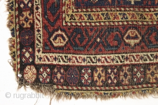 """Antique very small south persian rug with an unusual design I have not seen before. All good colors. Very very rough condition. Still spell binding. 19th c. 2'6"""" x 3'9""""    ..."""