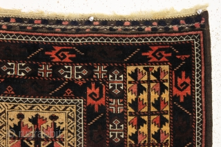antique baluch camel ground prayer rug in outstanding condition with some interesting design features. Eye catching curled leaf minor borders and a very unusual main border. Clean with overall very good even  ...