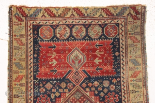 early east caucasian shirvan or karagashli type long rug. Fresh New England find. Finely woven with a wide range of excellent natural colors featuring a lovely yellow border and a pretty natural  ...