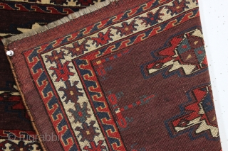 antique turkman yomud torba with an unusually spacious design and overall very good condition. Tight weave and even good glossy pile. All fine natural colors with a rich deep purplish red ground.  ...